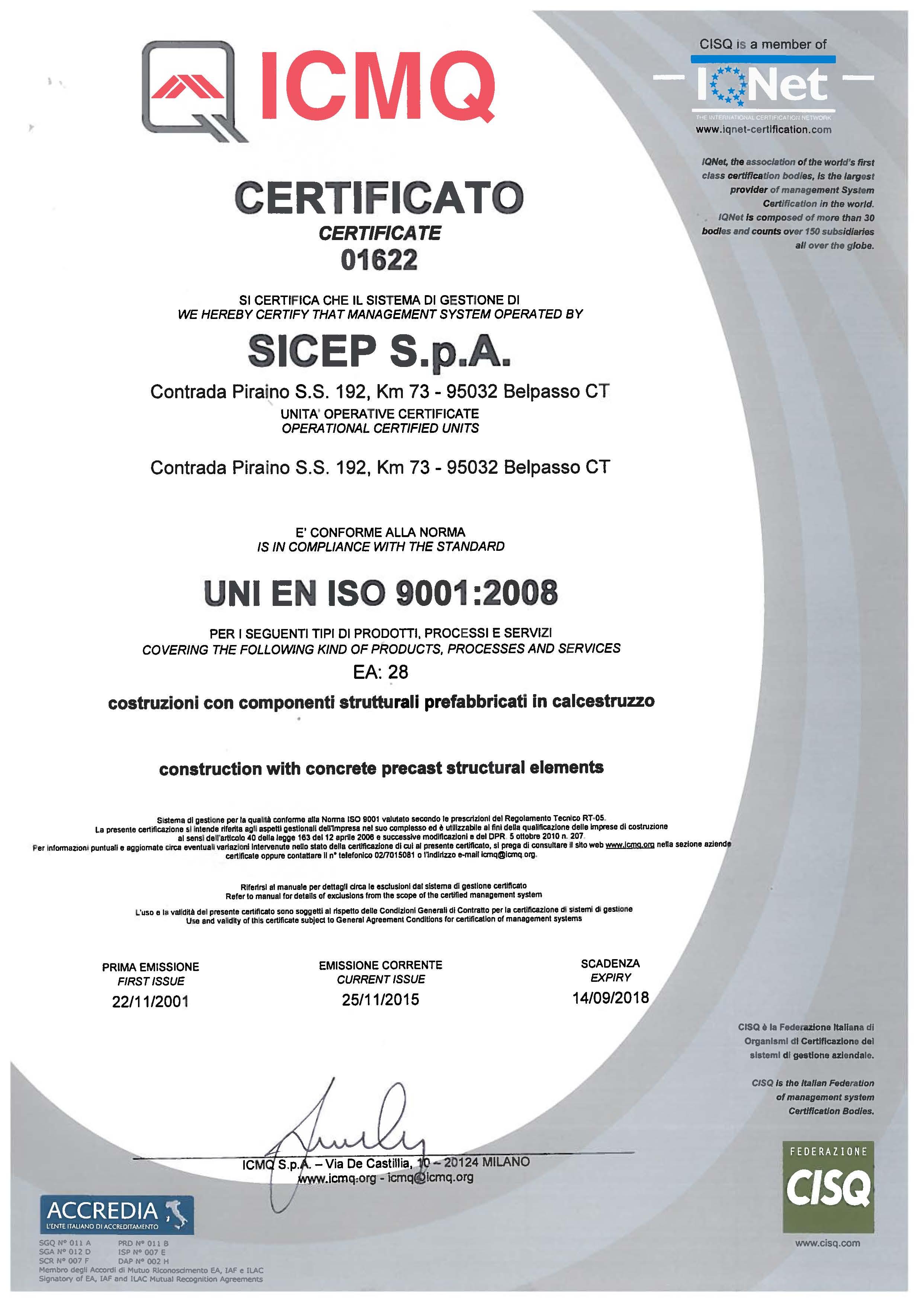 Certificazione ISO 9001 EA28