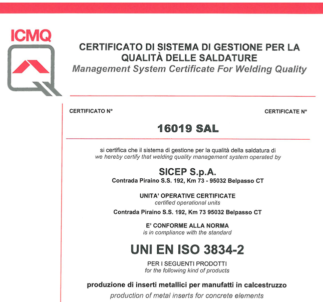 Quality Management System Certification (Technical Standard ISO 3834-2)