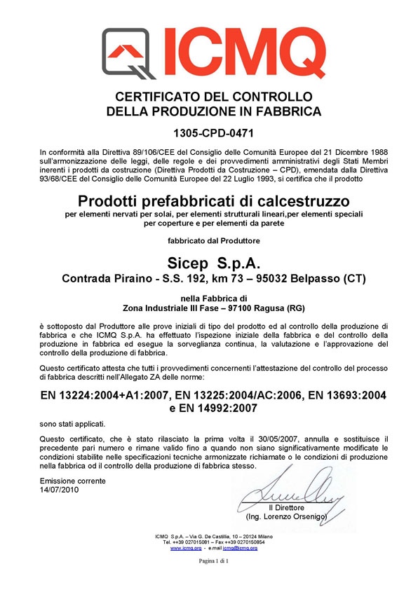 Conformity of the factory production control Certificate