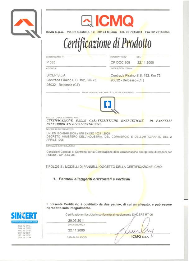 Certificazione di prodotto Belpasso P1