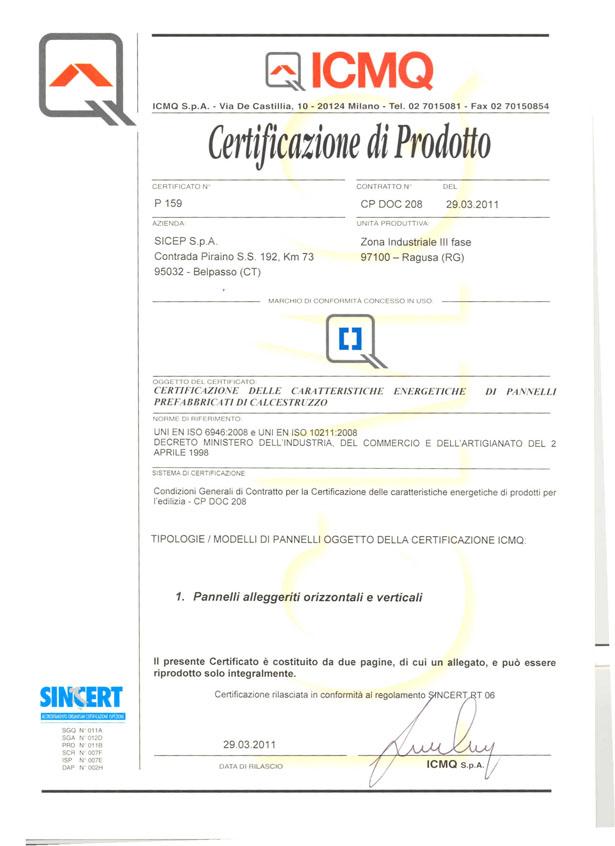 Certificazione di prodotto Ragusa P1