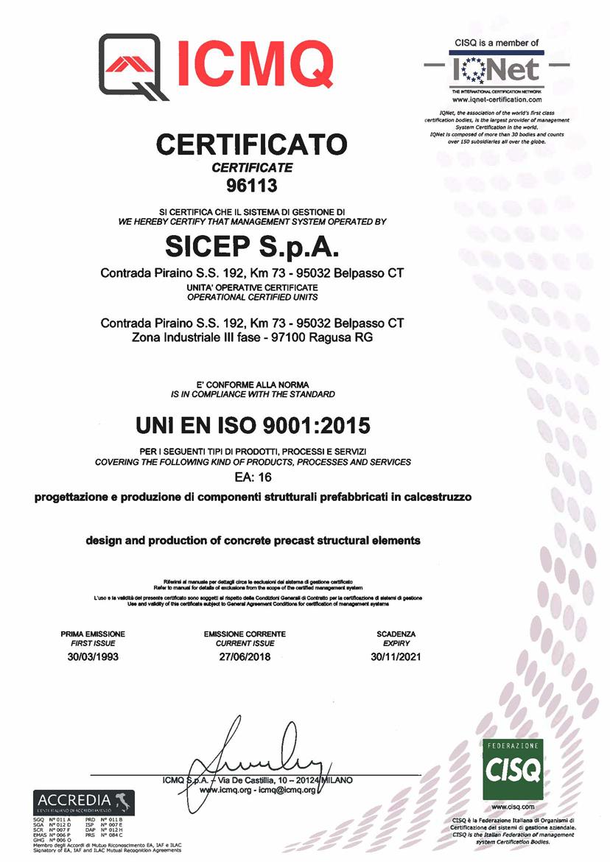Certificate ISO 9001 EA16