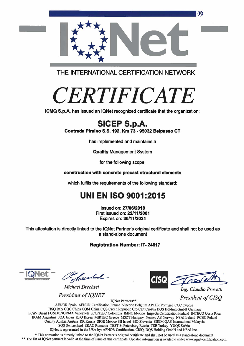 Certificato Management System ISO 9001 2008 Construction