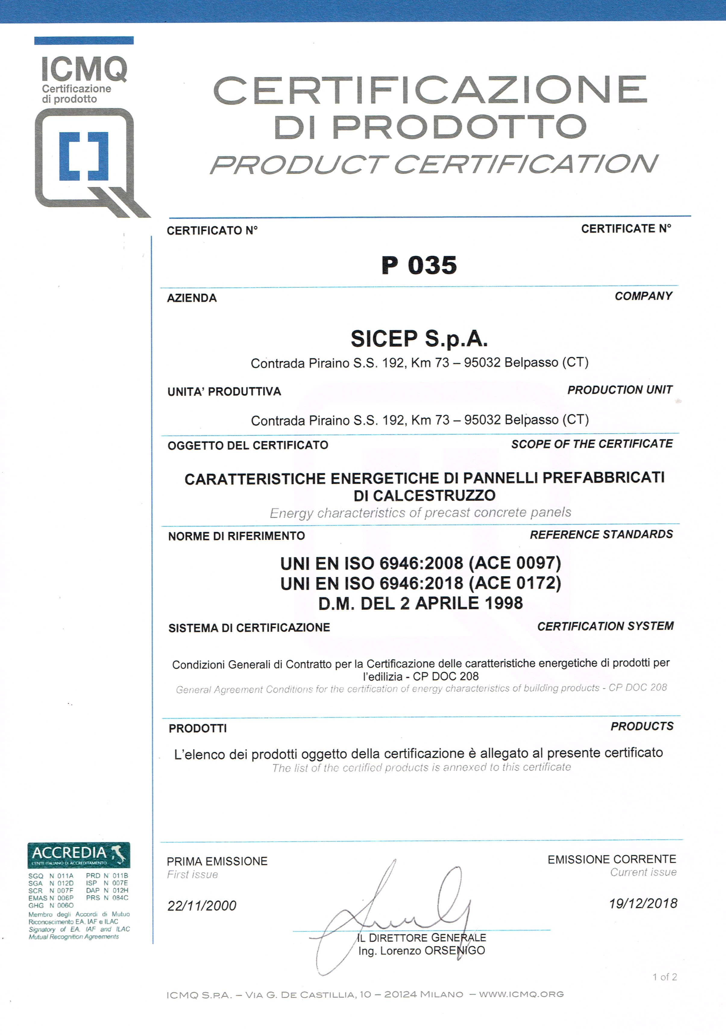 Product certification Belpasso P1