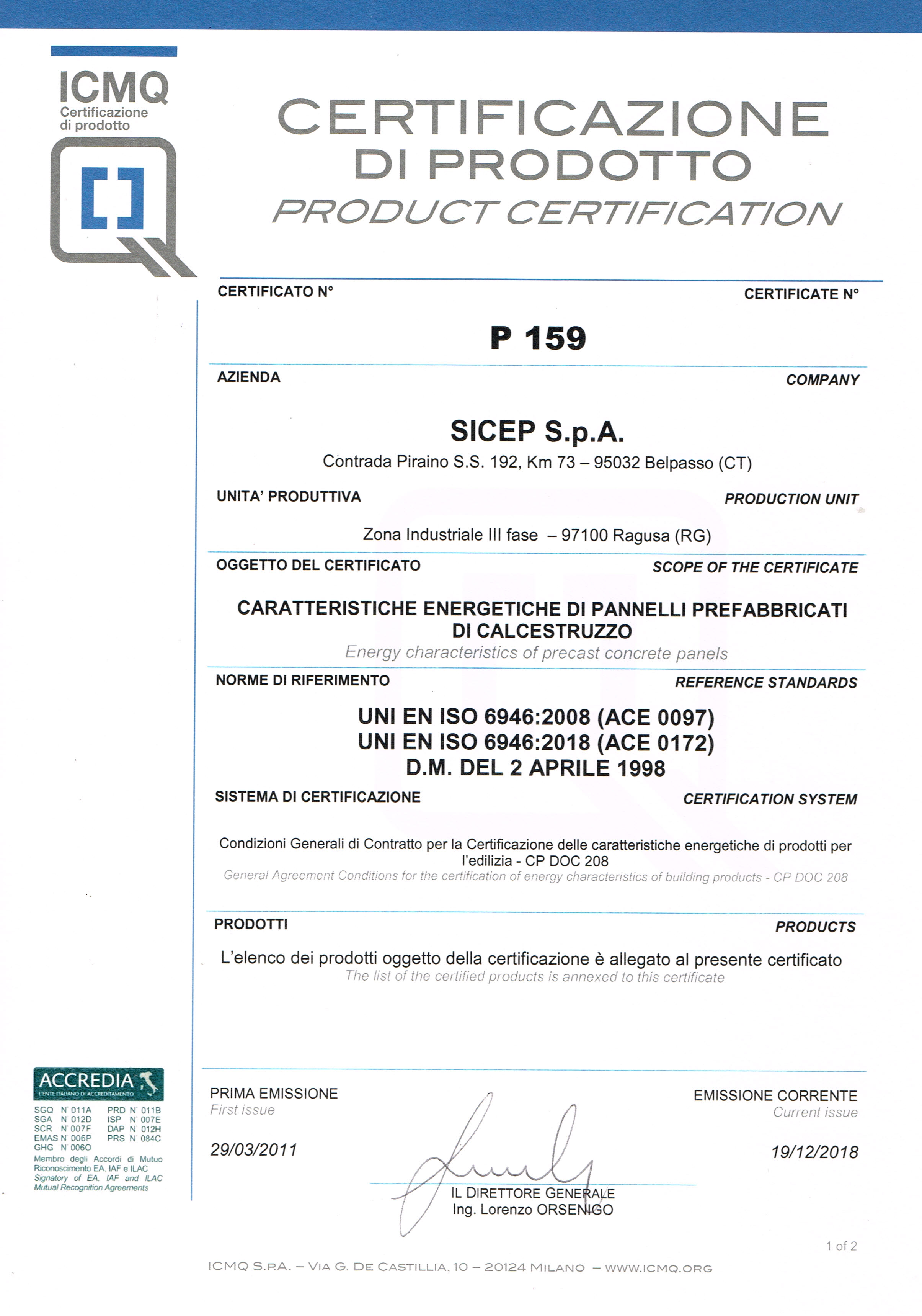Product certification Ragusa P1