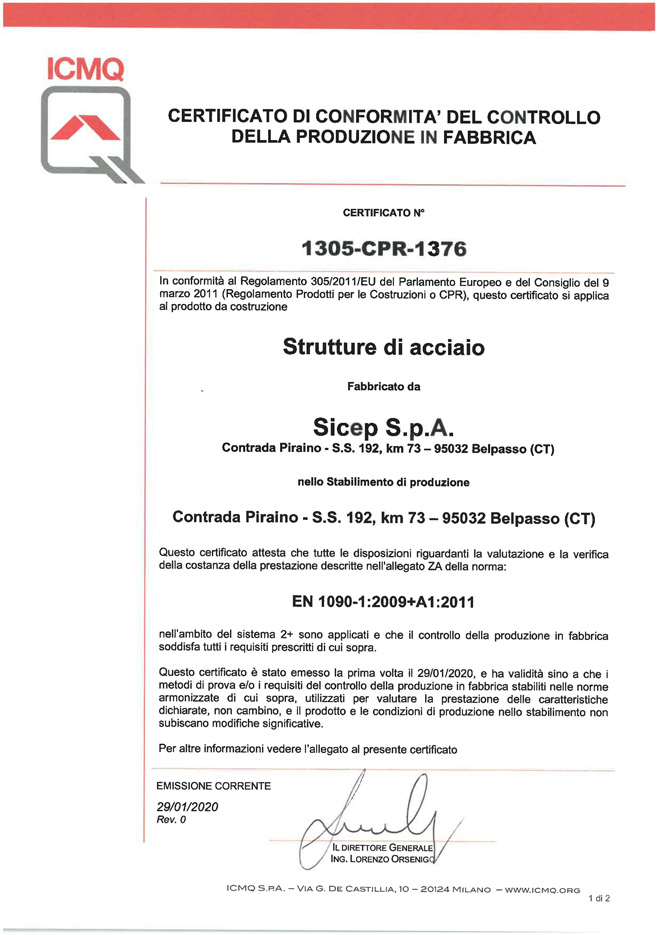 Factory Production Control Certificate for CE marking of steel structures